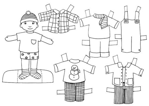 Fichas de Inglés para niños: Recortables de niños para colorear!