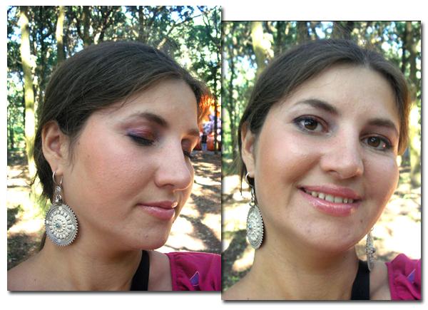 Общий вид с макияжем в оранжево-фиолетовых тонах
