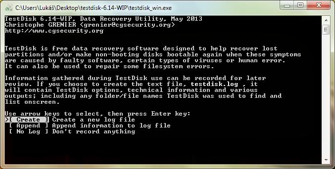 TestDisk prvotní obrazovka