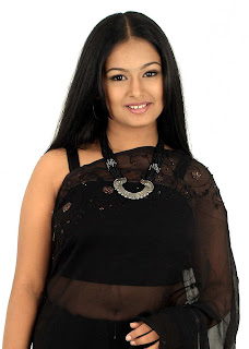 Tamil Actress Kalyani in black Transparent Saree