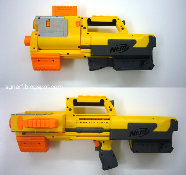 In this picture from SG Nerf, you can see the size and shape difference  between the Deploy in both modes.