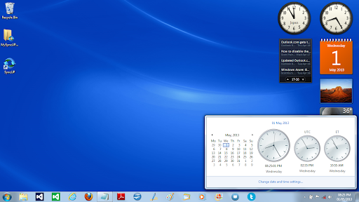 desktop clock windows xp
