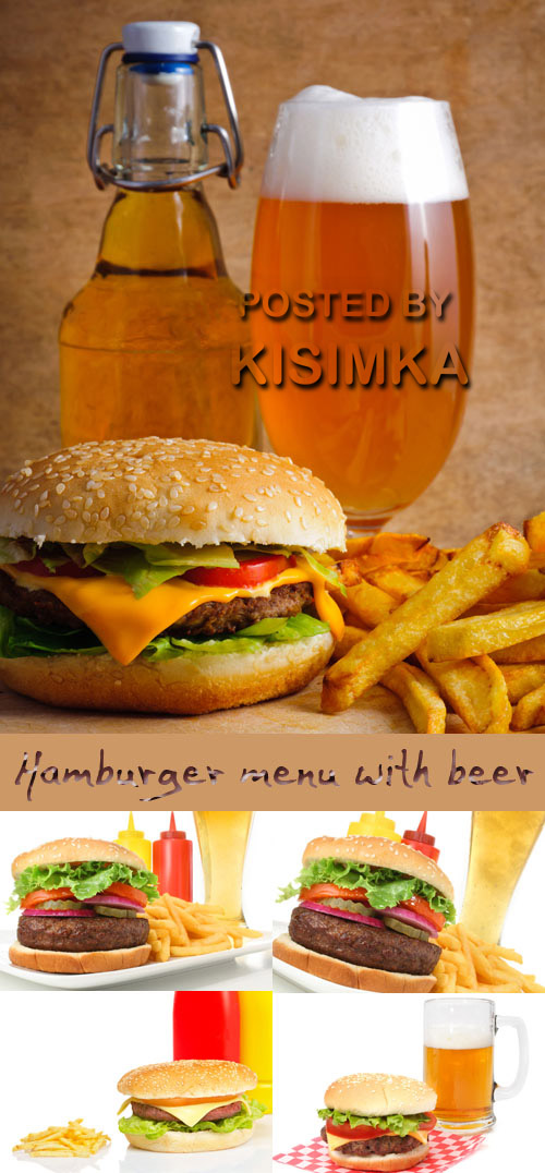 Stock Photo: Hamburger menu with beer