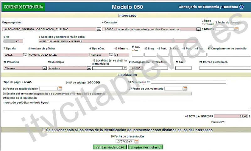 Modelo impreso 050 para el pago de las tasas ITV en Extremadura