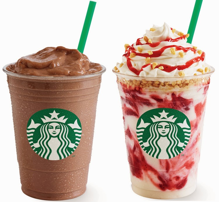 New at Starbucks: STRAWBERRY CHEESECAKE FRAPPUCCINO and BANANA CHOCOLATE FRAPPUCCINO