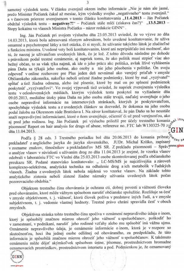 Uznesenie o vzneseni obvinenia NAKA, Martin Dano, Jan Pociatek, strana 3/4