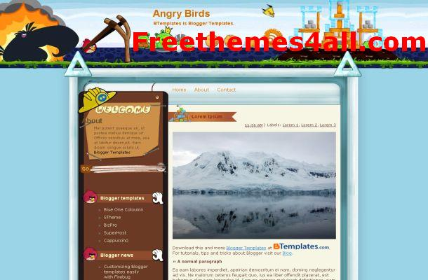 Free Blue Birds Blogger Theme Template