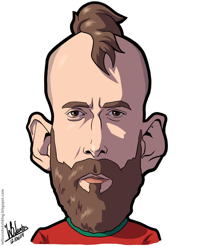 Cartoon caricature of Raul Meireles.