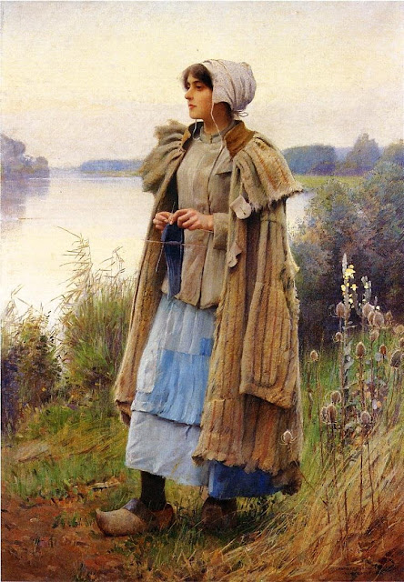 Charles Sprague Pearce - Knitting in the Fields