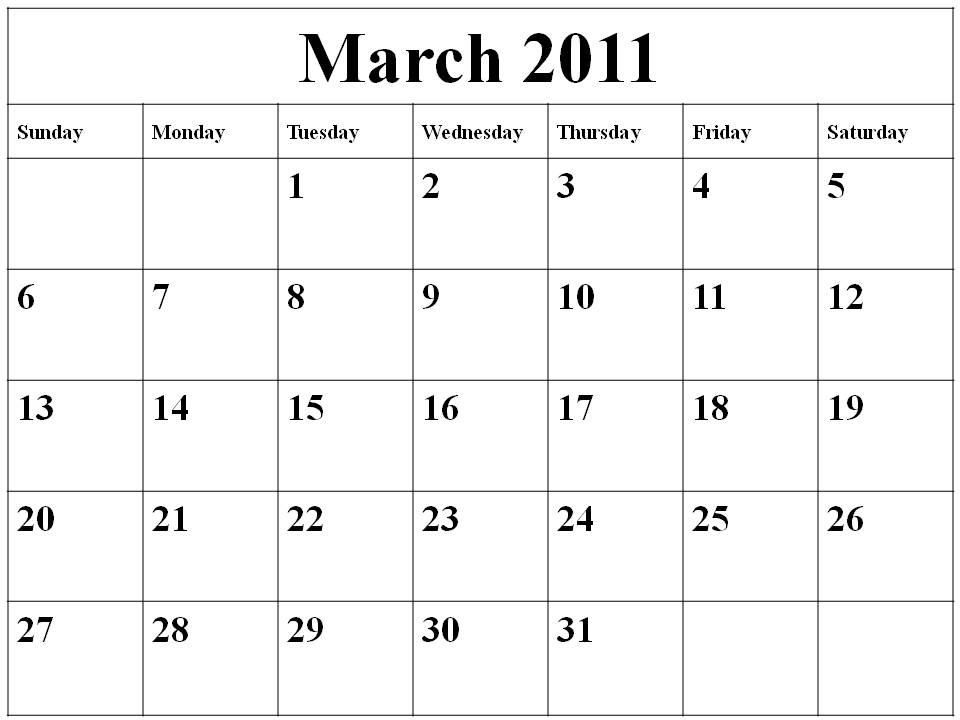 blank august calendar 2011. Blank Calendar 2011 March
