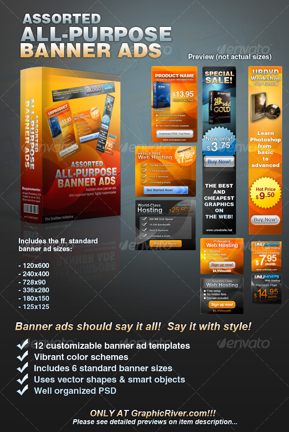 Daily News Assorted AllPurpose Banner Ad Templates Vol - Photoshop ad templates