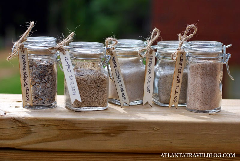 beach sand collection in jars