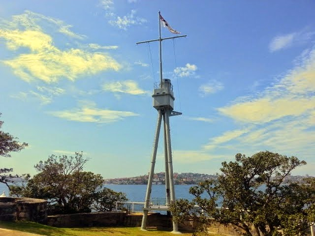 """The """"Fighting Mast"""" of the HMAS SYDNEY which in WWI caught and sank the German cruiser, Emden. Sydney Harbour Walk"""