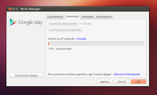 Google Play Music Manager su Ubuntu Linux