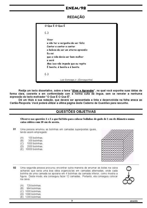 Enem 1998: Gabarito e Prova Caderno Amarelo.