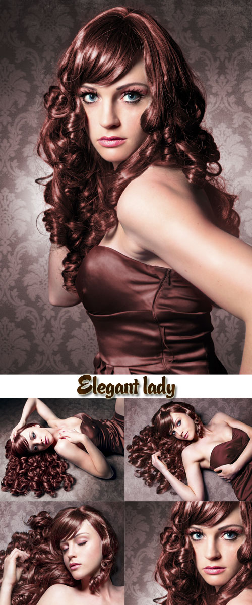 Stock Photo: Elegant lady with brown locks and evening dress