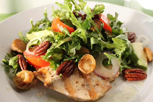 Grilled Chicken Paillards With Arugula Salad Crispy Potatoes And Rosemary Pecans The Cafe Sucre Farine