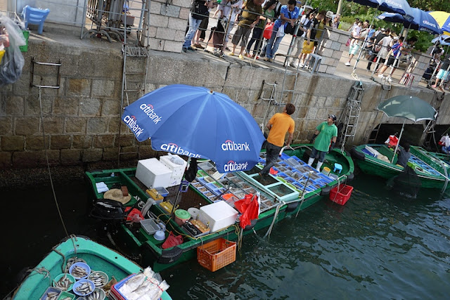 Citibank umbrella on a seafood boat in Sai Kung Town, Hong Kong
