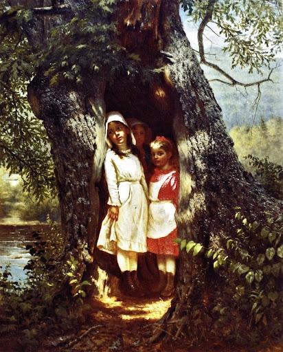 John George Brown - Hiding in the Old Oak