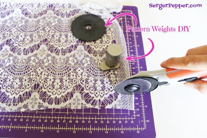 Serger Pepper - Sewing Lace like a Pro - 40+ best tips - rotary cutter, patternweights