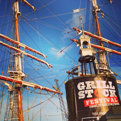 GrillStock Festival in Bristol Harbour with the boats behind us