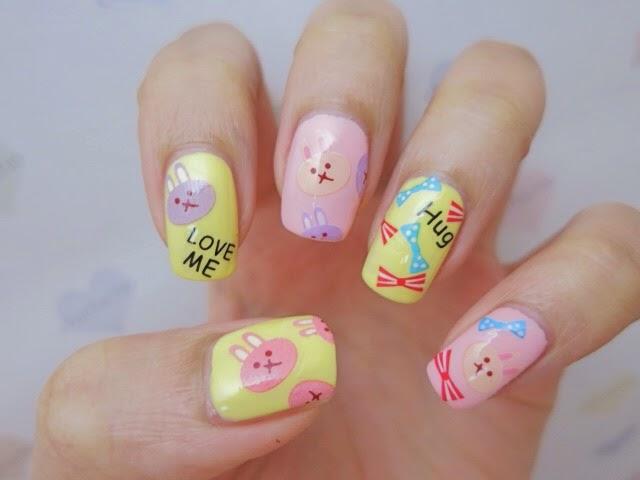 Bunny Rabbit Water Decal Nail Art YU478