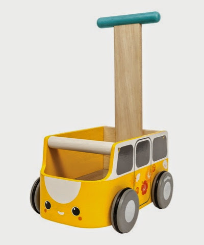 yellow Wooden push along Campervan Camper van baby walker by plan toys