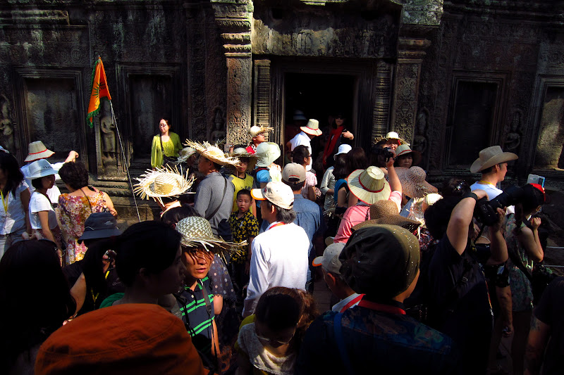 Big tour group at Ta Prohm