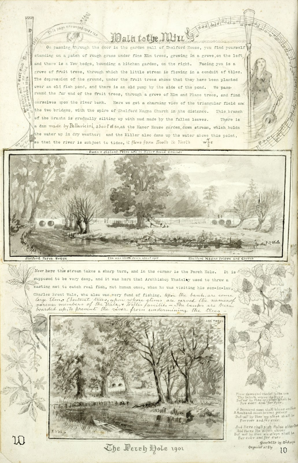 A Record of Shelford Parva by Fanny Wale P10 fo. 11v, page 10: At the top of the page is a description of the 'path to the water mill'. A watercolour is beneath it of Shelford Parva and Magna bridges. Another description of the stream is below this. At the bottom is a black and white watercolour of some ash trees at the perch hole 1901. A quartette by Dr. Amas is written in the right hand corner with a watercolour of some leaves. The page was arranged in 1908-1911. [fo.10]