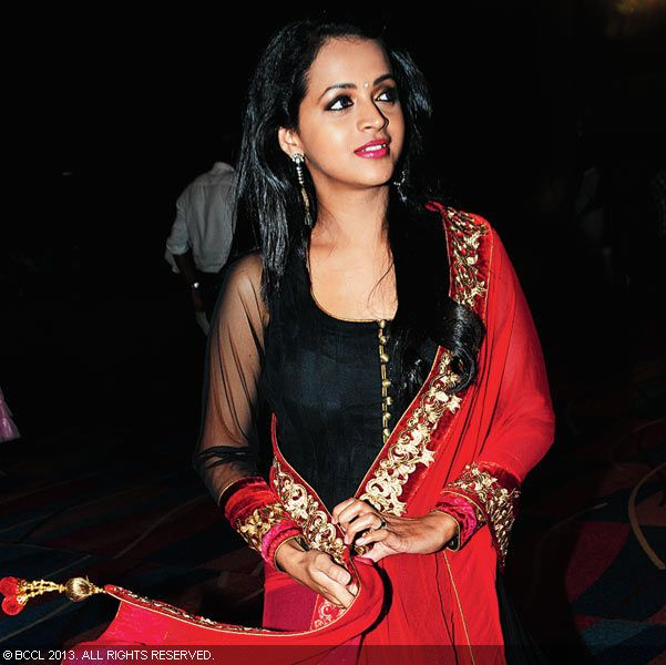 Bhavana during Vinu Mohan, Vidya's wedding reception held in Kerala.