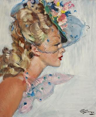 Jean-Gabriel Domergue - Jeune femme à la voilette bleue