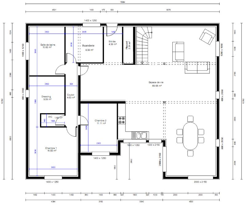 Plan de dressing chambre concevoir son dressing outils et for Plan maison chambre parentale separee