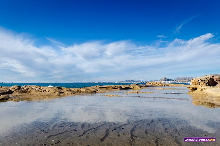 Nikon D5100, 10-20 mm, Paisajes, Cabo de la Huerta, Alicante, Calas, Reflejos, Castillo de Santa Bárbara, Nubes, Rocas, Mar,