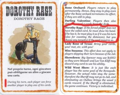 Dorothy Rage BANG! Wild West Show Event Card and Explanation