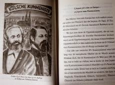 Aufgeschlagenes Buch, linke Seite: Porträts von Marx und Engels »Kölsche Kummeniste«, rechte Seite Text: »E Jespens jeit eröm en Europa – et Jespens vum Kummenismus…«.