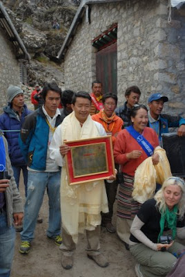 "Karsang Sherpa with framed Letter of Appreciation for his father ""Late Ang Tsering Sherpa"" (my landlord in 1981-82)"