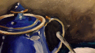 Daily painter.Painting a day.PAD Movement.Blue Denby Teapot and cup with saucer.Close up of the reflection of cup at the top of the teapot which turns the cup upside down .Original oil painting.Small.Unique.