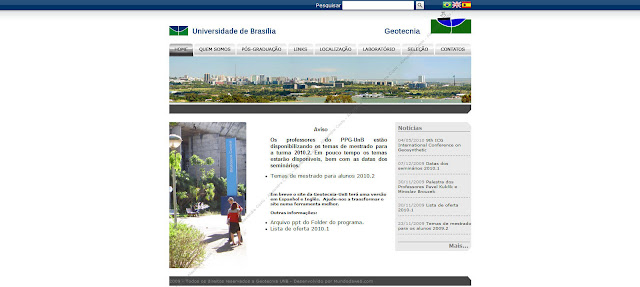 Tela do site Geotecnia UnB