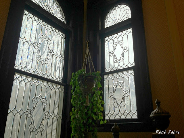 Lead glass windows midway up the grand staircase in the Monaghan Mansion, Gonzaga University, Spokane, Washington