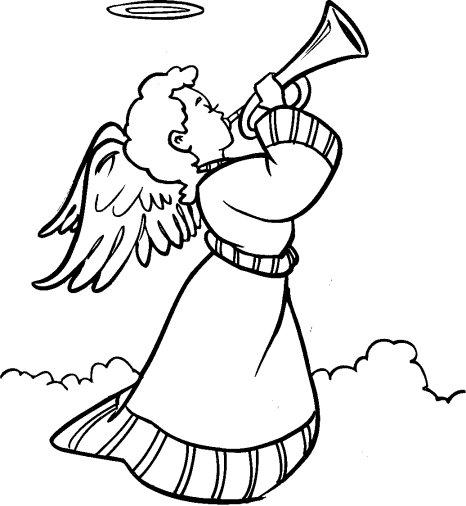 Angel con trompeta para colorear