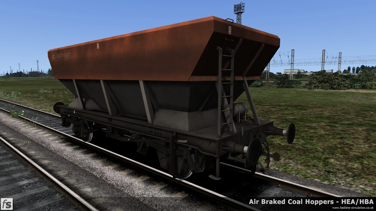 Fastline Simulation - HBA/HEA Coal Hoppers: An HEA hopper in fairly grimy Railfreight flame red and grey livery.
