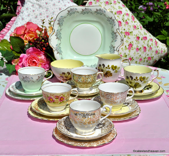 Countess an eclectic vintage Englsh china 21 piece tea set