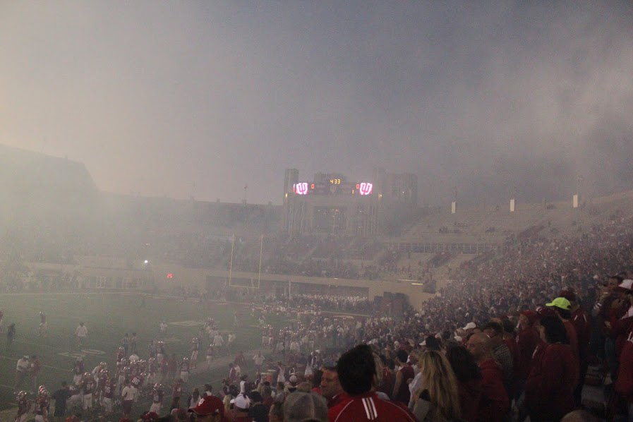 After the fireworks at IU Memorial Stadium, there was heavy smoke that covered the field.