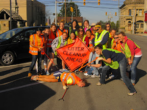 Youth litter cleanup crew