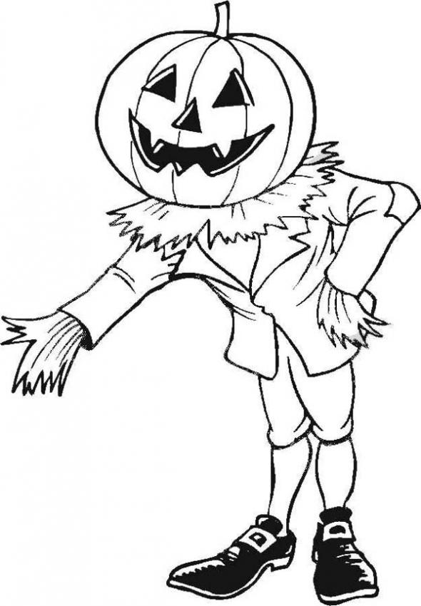 Halloween Pumpkin Cartoon Kids Coloring Pages