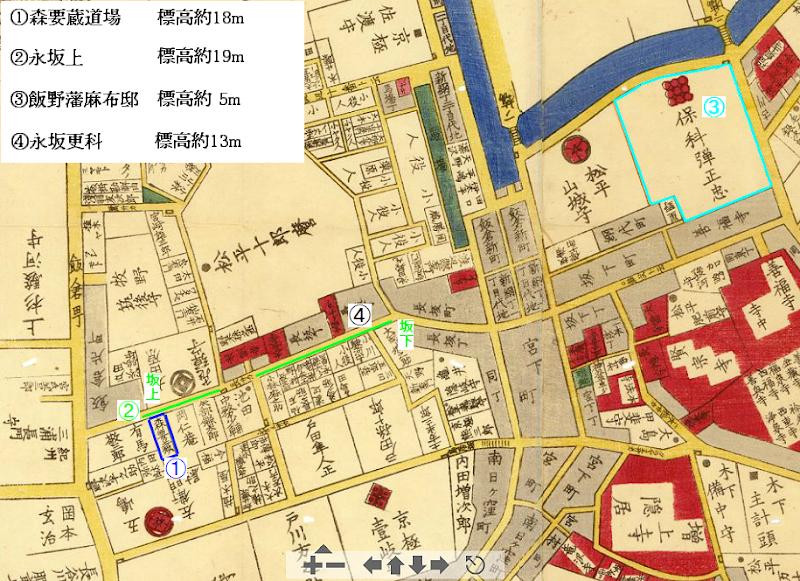 飯野藩麻布邸と森要蔵道場の標高