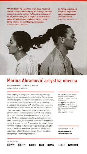 Tył ulotki filmu 'Marina Abramović: Artystka Obecna'