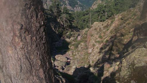 Le fond du ravin de Tana di l'Orsu à l'arrivée sous la falaise