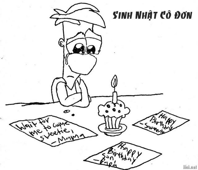 ảnh hoạt hình sinh nhật cô đơn