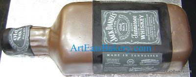 3D Jack Daniel's Tennesse Whiskey bottle custom unique modern fondant groom's cake design idea